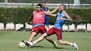 Luis Suárez et Aleix Vidal, mercredi / MIGUEL RUIZ-FCB