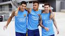 Suárez, Neymar i Messi, abans de l'inici de l'entrenament / MIGUEL RUIZ - FCB