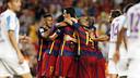 Barça players celebrate Vermaelen's goal / MIGUEL RUIZ - FCB