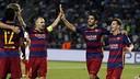 Iniesta, Suárez et Messi après un but / MIGUEL RUIZ-FCB