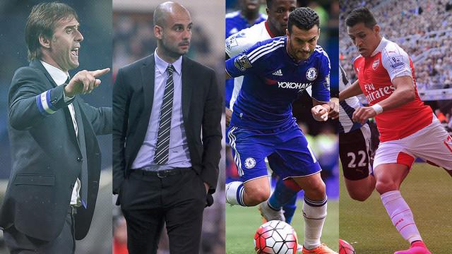 Pedro, Alexis, Guardiola and Lopetegui  / FCB