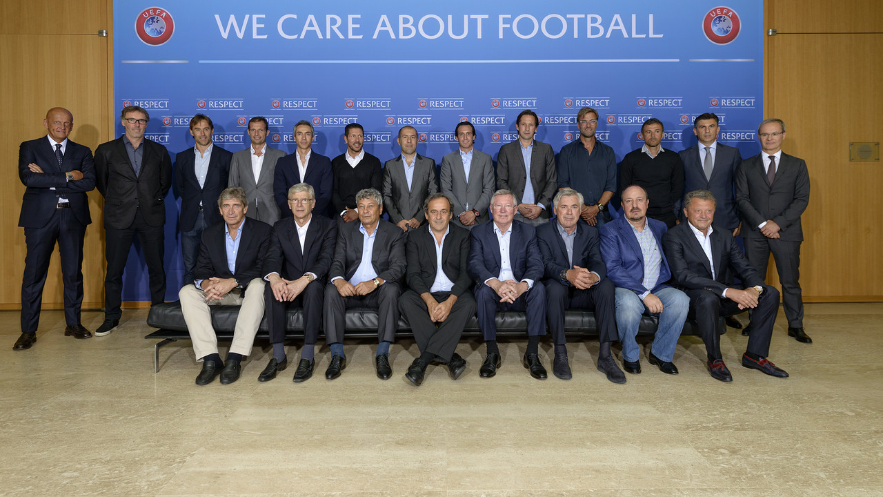 Luis Enrique and the rest of the managers attending the foum / UEFA.COM