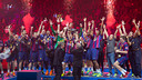 Barça's handball side celebrating their Champions League win over Veszprem / GERMÁN PARGA - FCB