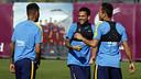 Alves, durant l'entrenament / MIGUEL RUIZ - FCB