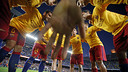 Els jugadors, després de l'escalfament / MIGUEL RUIZ - FCB