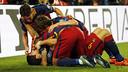 Delight after Suárez goal / MIGUEL RUIZ-FCB