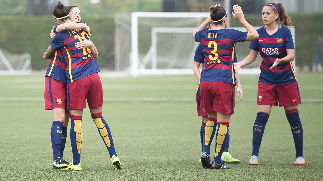 Alegria del Femení després de guanyar el València / VÍCTOR SALGADO-FCB