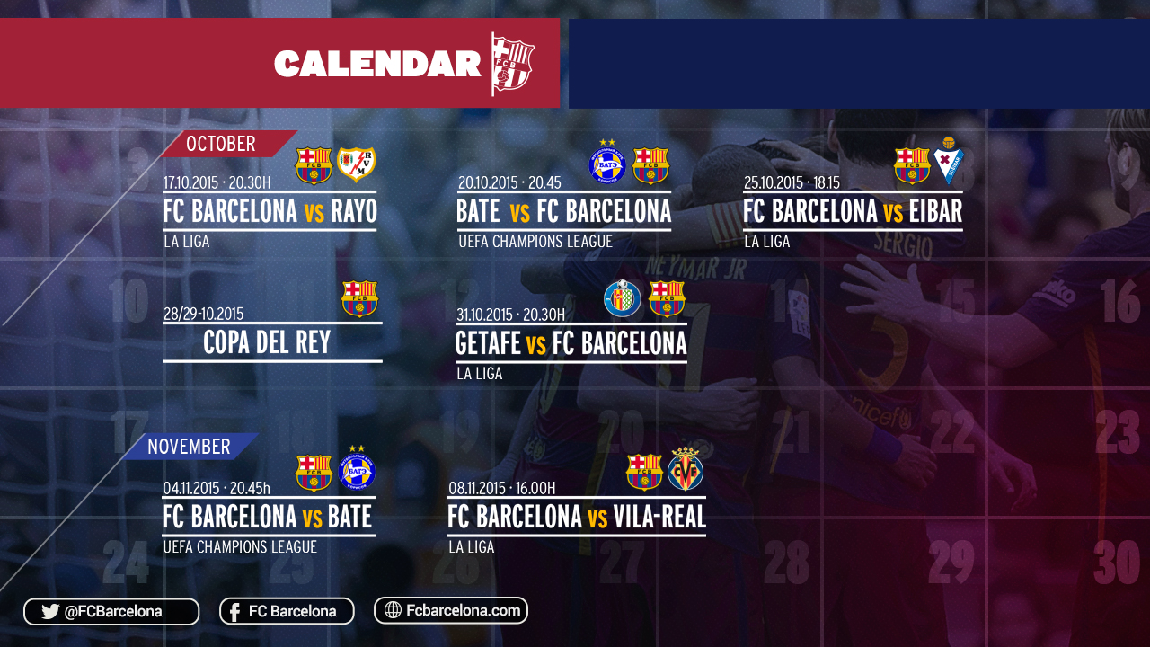 Times And Dates Of The Next FC Barcelona Matches FC Barcelona - Barcelona fc table