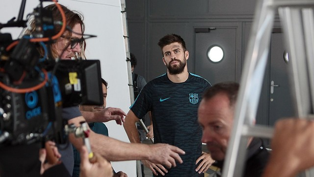 Gerard Piqué during the filming of the Lassa video / FCB