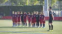The U12 team holds a minute's silence in memory of the victims / VÍCTOR SALGADO - FCB