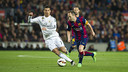 Andrés Iniesta takes on Cristiano Ronaldo the last time Real Madrid visited the Camp Nou / VICTOR SALGADO - FCB
