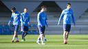 Messi, Suárez, Paik et Juanma, pendant la séance / VICTOR SALGADO - FCB