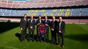 From left to right, Marcos Mandojana, Jordi Cardoner, Josep M. Bartomeu, James Costos, Carles Vilarrubí and Manel Arroyo / GERMAN PARGA - FCB