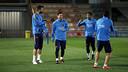 Piqué, Messi, Neymar i Suárez, abans de l'inici de l'entrenament / MIGUEL RUIZ - FCB