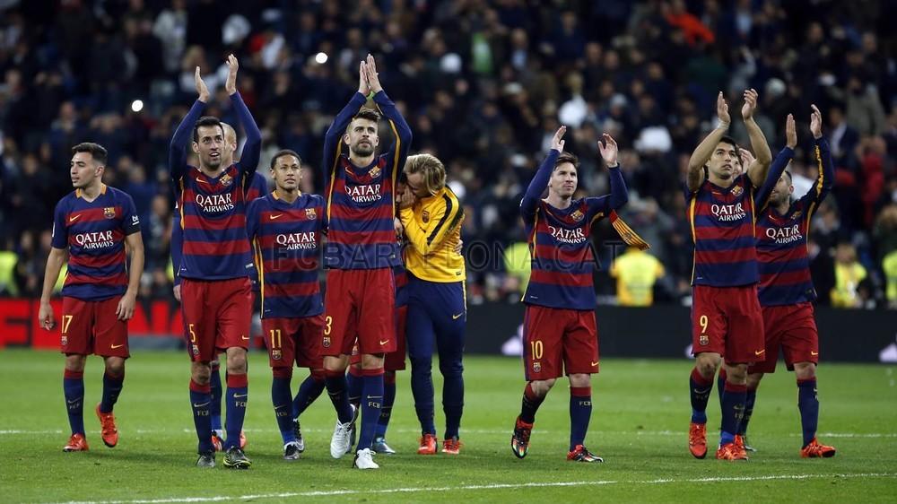تصویری:  عکس دسته جمعی بازیکنان بارسلونا پس از پیروزی به یاد ماندنی در الکلاسیکو