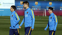 Suárez, Piqué and Messi during Sunday's workout at the Ciutat Esportiva / MIGUEL RUIZ - FCB