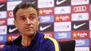 Luis Enrique speaks to the media on Friday at the Ciutat Esportiva in Sant Joan Despí. / MIGUEL RUIZ - FCB