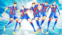 The five Barça players depicted in Takahashi's unique style
