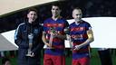 Messi, Suárez and Iniesta with their prizes / MIGUEL RUIZ - FCB