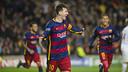 Messi, Neymar Jr et Dani Alves après un but / MIGUEL RUIZ - FCB