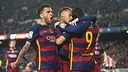 Alves, Luis Suárez and Neymar celebrating against Athletic in the quarter-finals/ VÍCTOR SALGADO-FCB