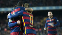 Neymar, Suárez and Messi celebrate one of the seven goals scored against Valencia on Wednesday night. / VICTOR SALGADO - FCB
