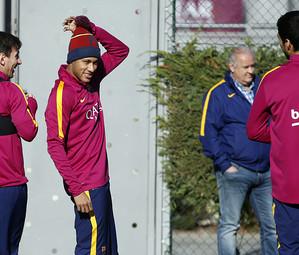 Messi, Neymar e Suárez, no treinamento desta quinta-feira