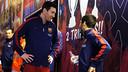 Suárez i Messi en el túnel de vestidors / MIGUEL RUIZ-FCB