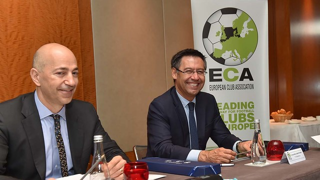 Josep Maria Bartomeu (right), with Ivan Gazidis of Arsenal, at the last ECA meeting in Geneva. / ECA