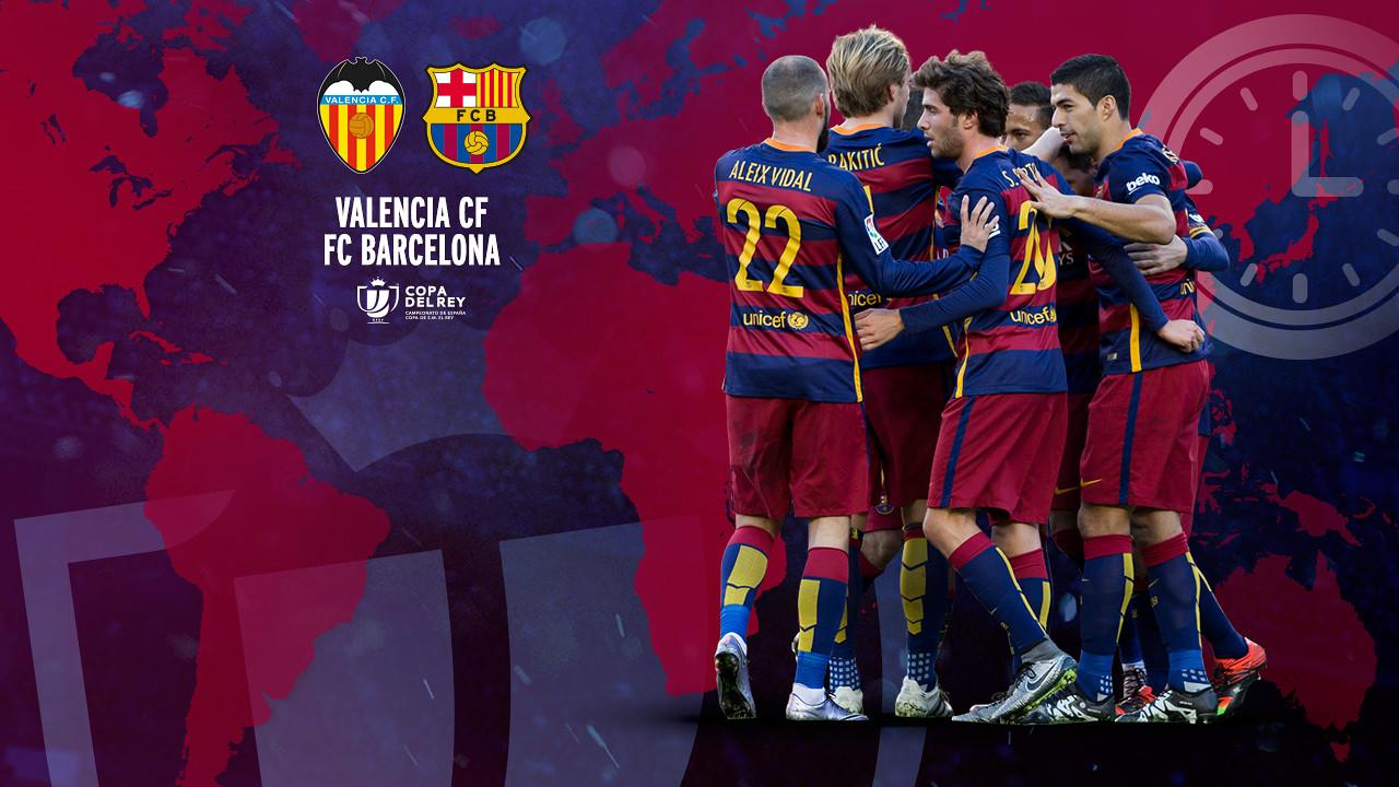Horarios internacionales del Valencia CF - FC Barcelona / FCB