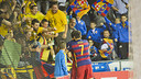 Sergio Lozano and Dyego celebrate goal number five with the Palau fans / VICTOR SALGADO - FCB