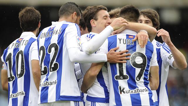La Reial Societat celebrando un gol en el partido contra el Granada disputado en Anoeta de la jornada 24 / LFP