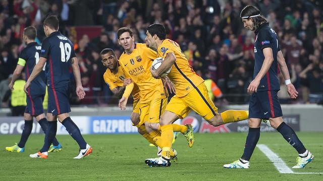 Suárez, después de marcar el gol del empate en el partido de ida / VÍCTOR SALGADO - FCB