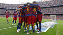 The players celebrate one of five goals against Espanyol last week / MIGUEL RUIZ - FCB