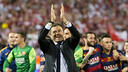 Luis Enrique was euphoric after the final whistle on Sunday night. / VICTOR SALGADO - FCB