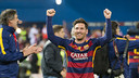 Lionel Messi raises his arms in celebration following FC Barcelona's 2–0 victory in the Copa del Rey final on Sunday in Madrid. / VICTOR SALGADO - FCB