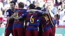 El Barça celebra uno de los goles conseguidos contra el Granada / MIGUEL RUIZ - FCB