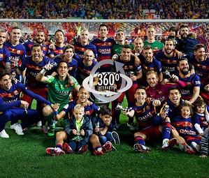 O Barça comemora a Copa do Rei