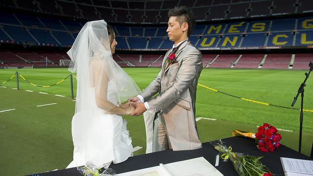 Casament al Camp Nou. FOTO: VÍCTOR SALGADO-FCB.