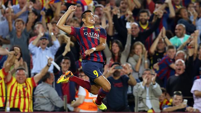 Alexis, celebrant el seu golàs contra el Madrid. FOTO: MIGUEL RUIZ-FCB.